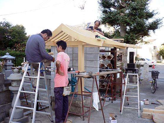 寺の水汲み場屋根作成